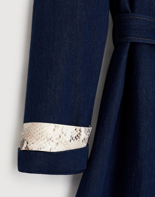 Plus-Size Cutting Edge Denim Tandra Trench Coat