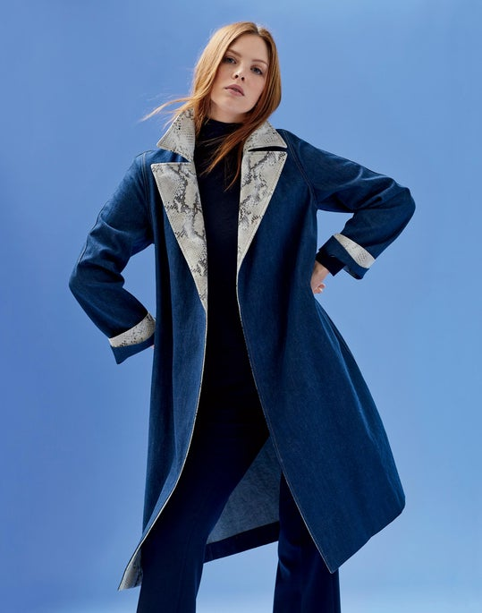 Tandra Trench Coat and Cropped Manhattan Flare Pant