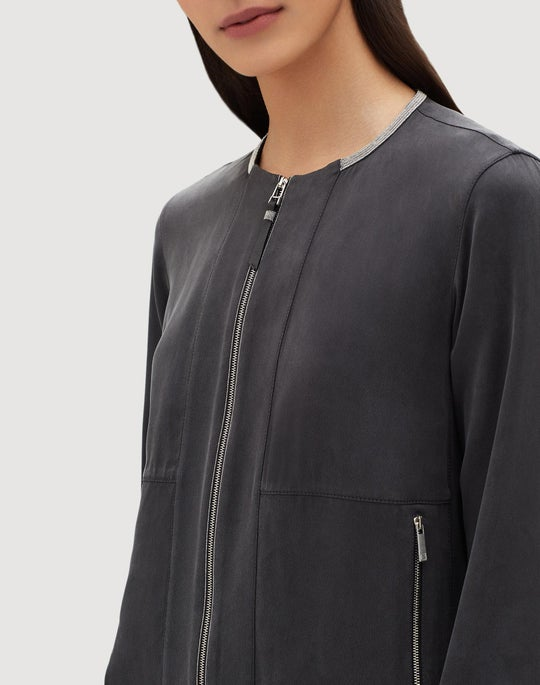 Plus-Size Artistry Silk Aviana Bomber