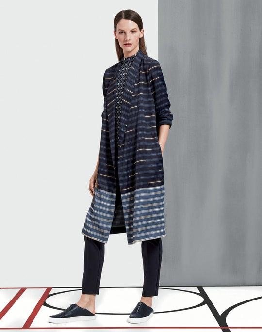 Plus-Size Industry Stripe Sheen Cloth Brinsley Jacket