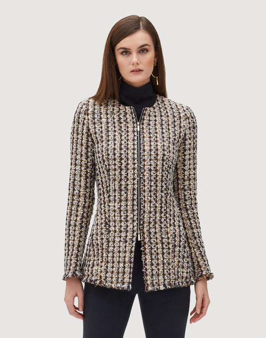 Petite Mixed Media Tweed Landon Jacket