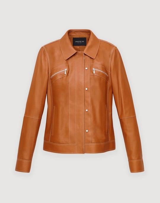 Plus-Size Plonge Lambskin Kesha Jacket