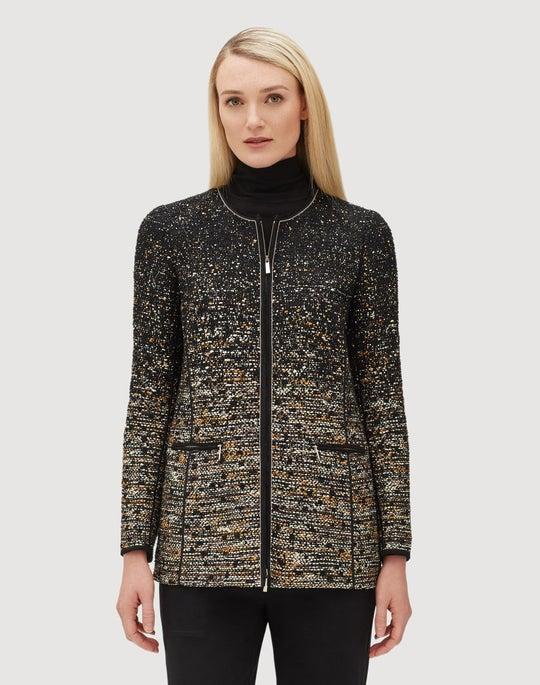 Plus-Size Cascading Tape Yarn Tweed Karina Jacket