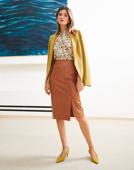 Luther Jacket and Leather Esma Pencil Skirt