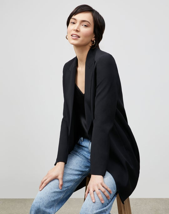 Plus-Size Kourt Jacket In Luxe Stretch Crepe De Chine