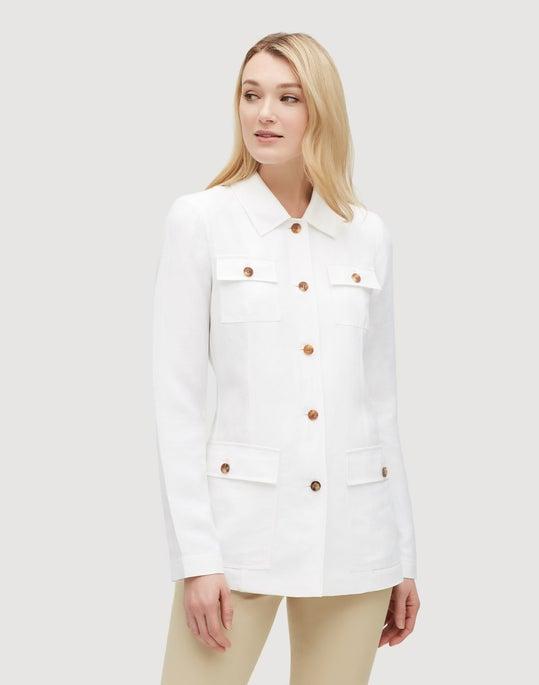Plus-Size Metropolis Linen Tamaya Jacket