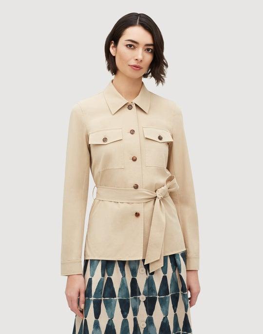 Plus-Size Italian Bi-Stretch Pima Cotton John Safari Jacket