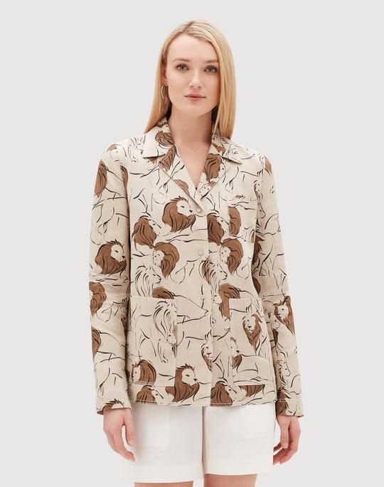 Italia Leo Print Linen Jolisa Jacket