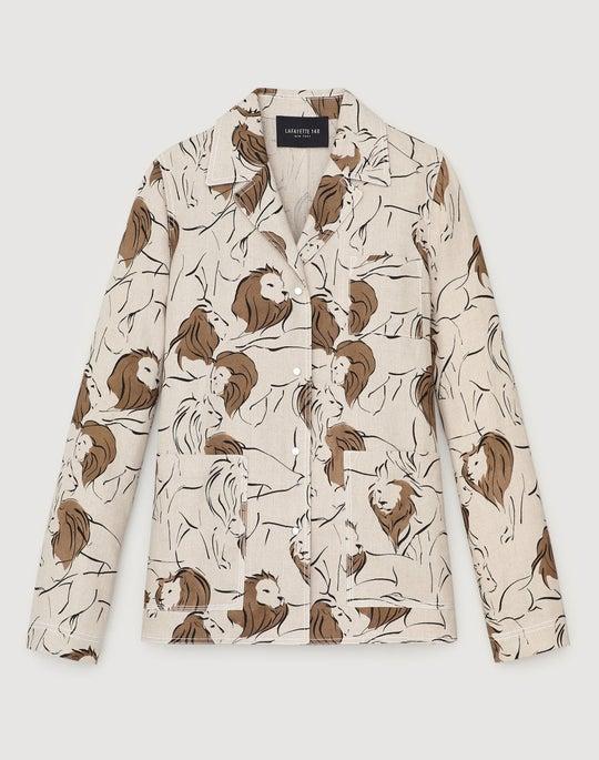 Petite Italia Leo Print Linen Jolisa Jacket