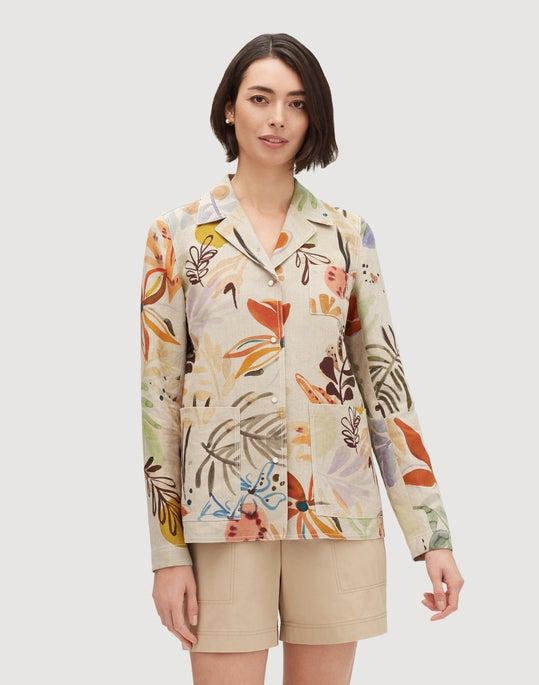 164e0195d0 Plus-Size Fiore Print Linen Jolisa Jacket | Lafayette 148 New York