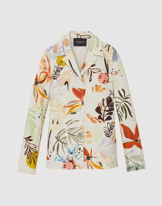 Plus-Size Fiore Print Linen Jolisa Jacket