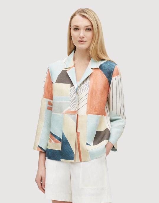 Plus-Size Sunwashed Cityscape Linen Layken Jacket