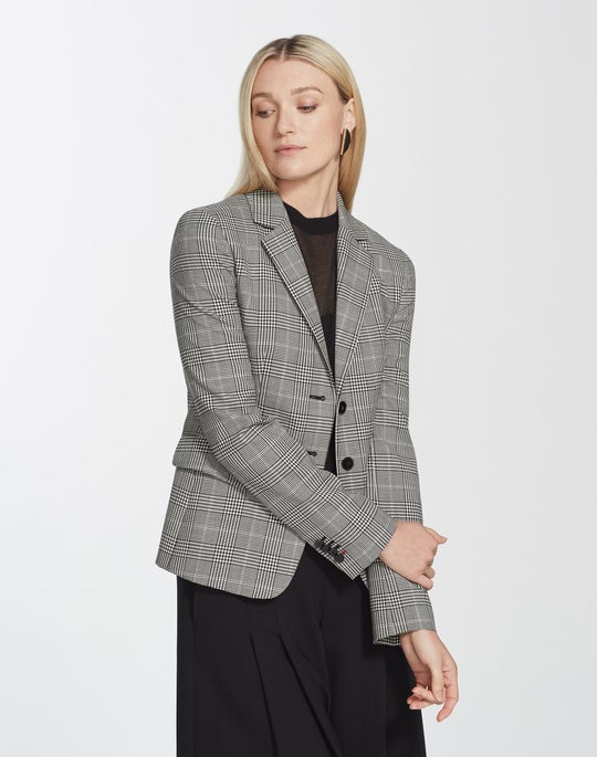 Plus-Size Houndstooth Plaid Thatcher Blazer