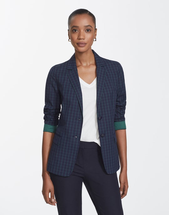 Petite Cross Hatch Stretch Cotton Thatcher Blazer