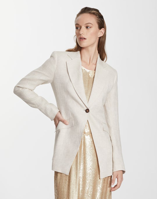 Plus-Size Leopold Linen Virginia Blazer