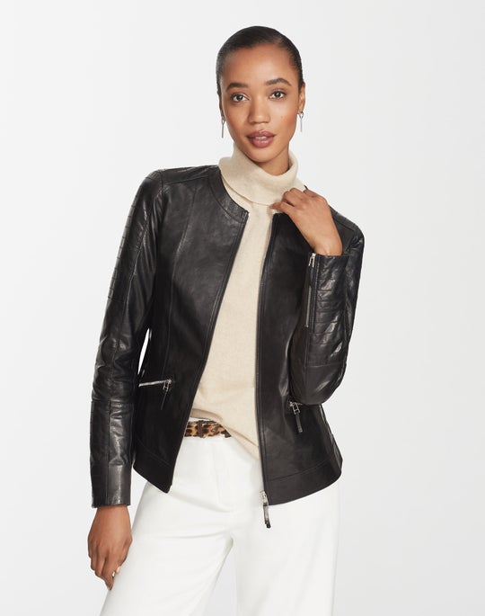 Petite Glazed Weightless Lambskin Quilted Everly Jacket