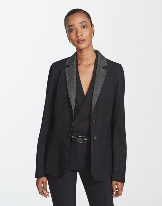 Plus-Size Dual Weave Suiting Rozella Jacket