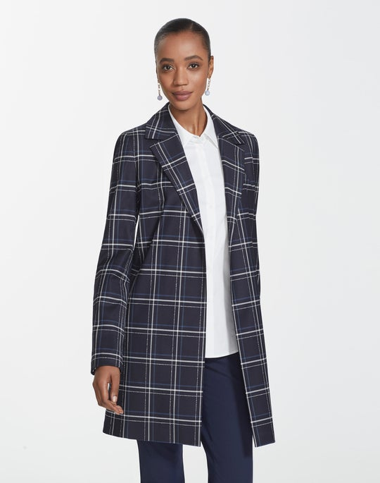 Fine Windowpane Plaid Kidman Jacket