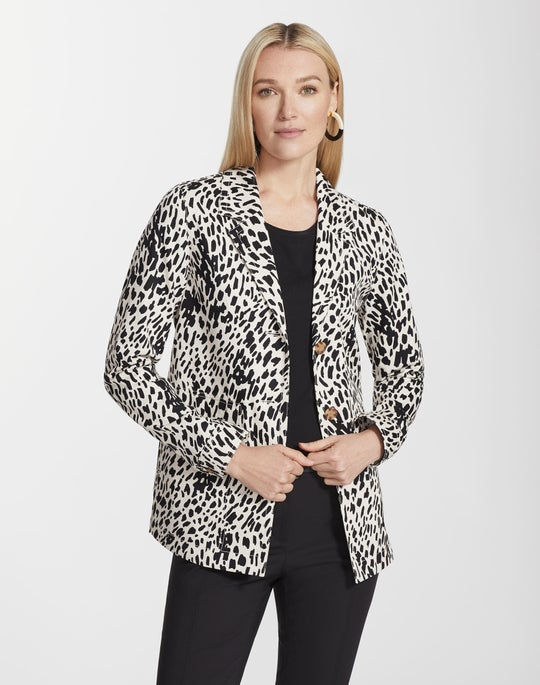Plus-Size Cheetah Print Twill Coleman Jacket