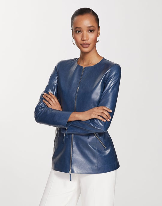 Plus-Size Lacquered Lambskin Roger Jacket