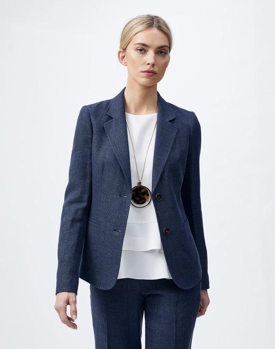 Italian Linen-Virgin Wool Fitz Blazer