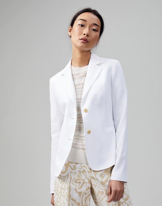 Plus-Size Italian Cotton-Linen Weave Fitz Blazer