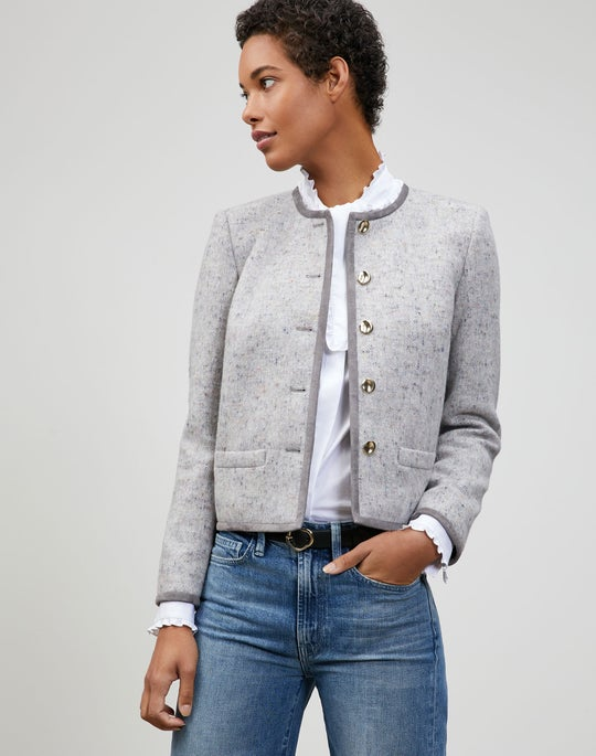 Muted Herringbone Wool-Cashmere Kade Jacket