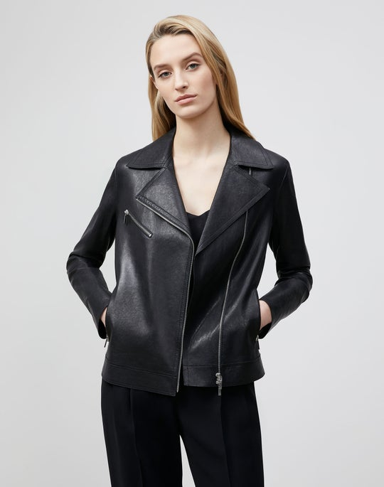 Plus-Size Washed Italian Lambskin Aisling Moto Jacket