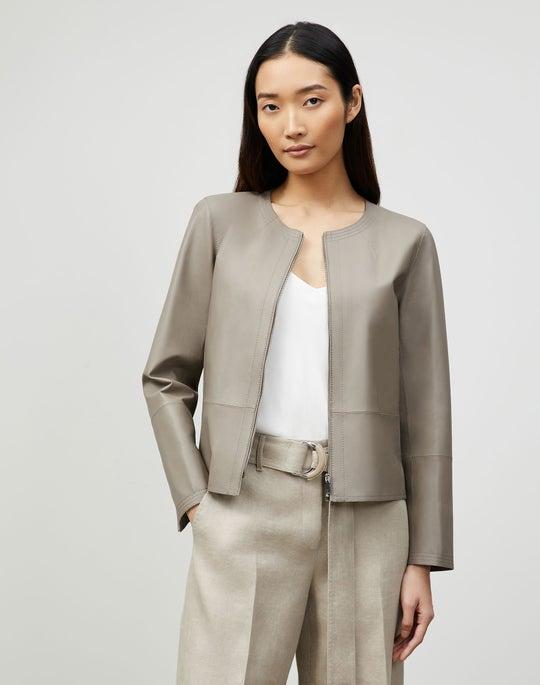 Plus-Size Griffith Jacket In Lightweight Plonge Lambskin