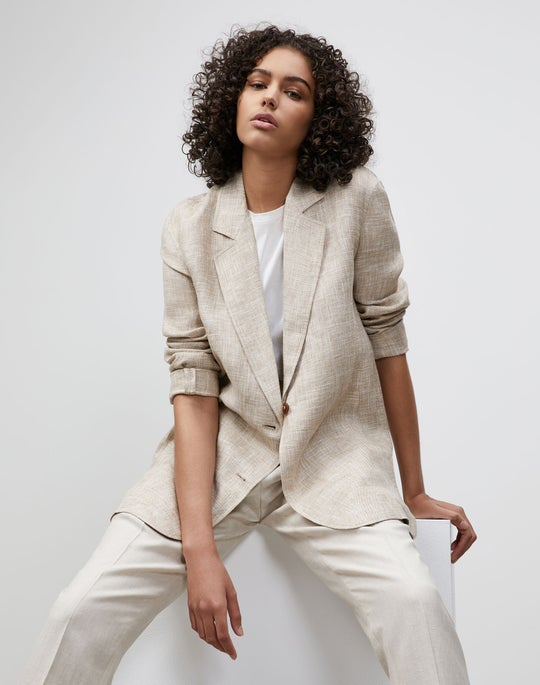 Plus-Size Eaton Blazer In Italian Etched Linen