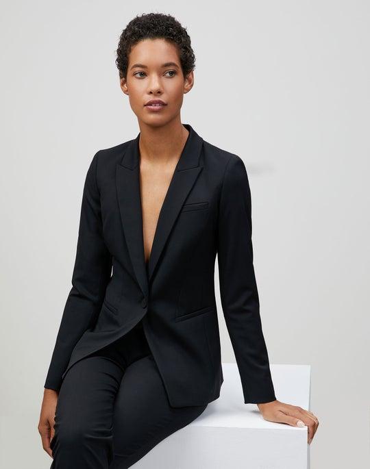 Plus-Size Italian Stretch Wool Harvey Blazer