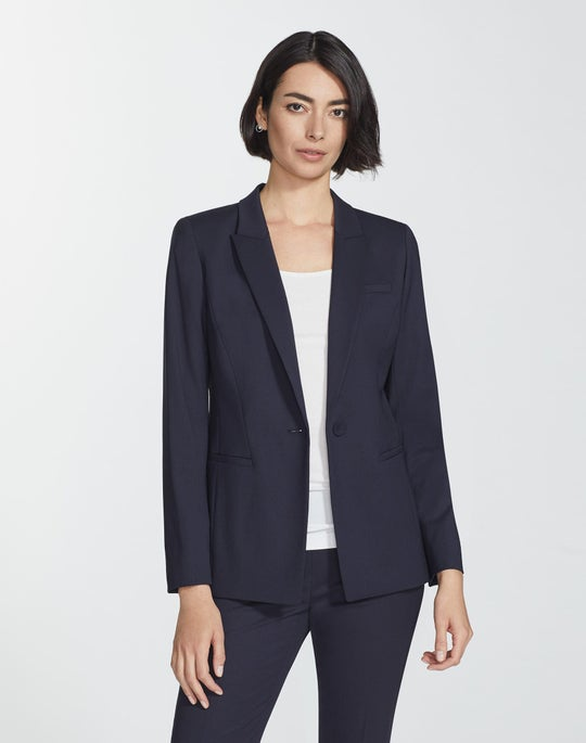 Petite Italian Stretch Wool Harvey Blazer