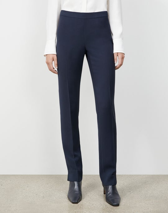 Plus-Size Finesse Crepe Front Zip Ankle Length Pant
