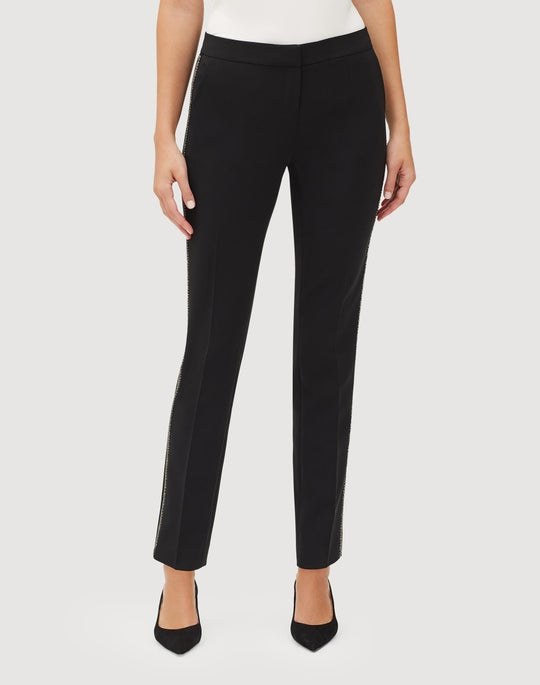 Sleek Tech Cloth Beaded Manhattan Slim Pant