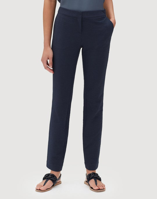 Rendezvous Seersucker Stripe Manhattan Slim Pant