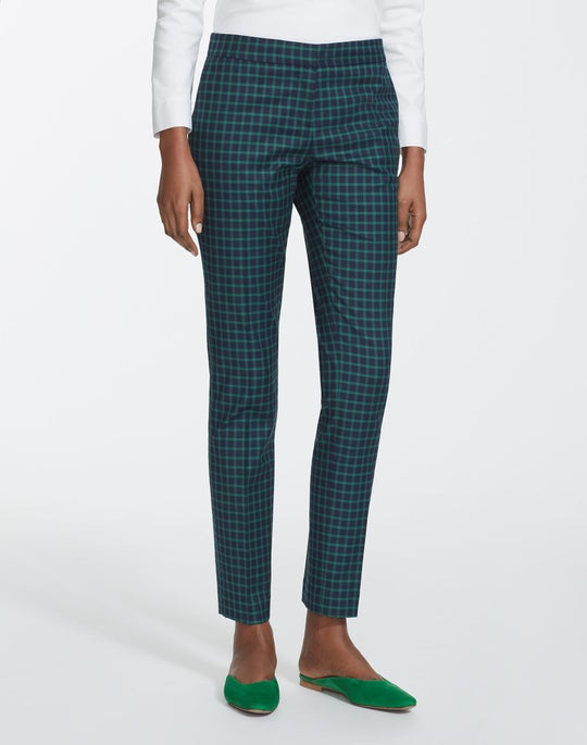 Petite Micro Windowpane Plaid Cotton Manhattan Pant