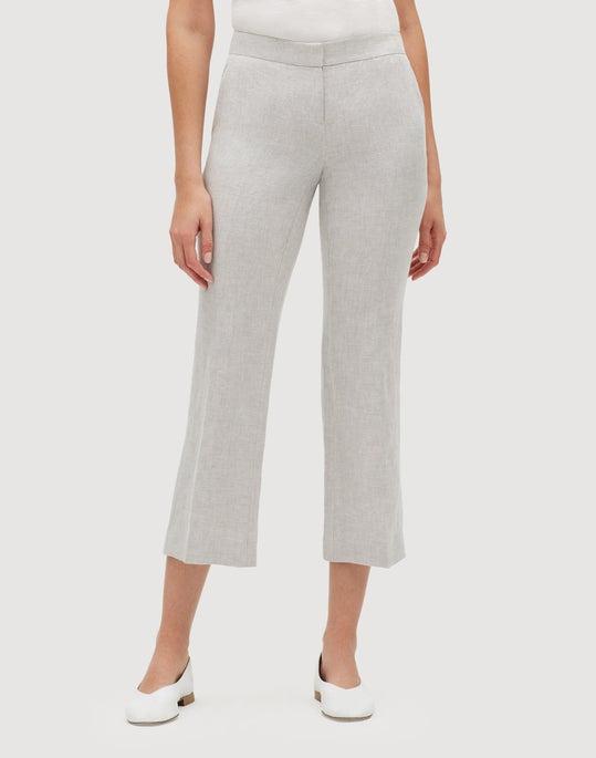Aurora Linen Cloth Cropped Manhattan Flare Pant