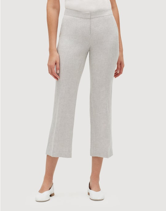Aurora Linen Cloth Cropped Manhattan Flare Pant