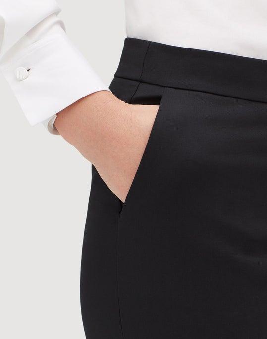 Petite Fundamental Bi-Stretch Cropped Manhattan Flare Pant