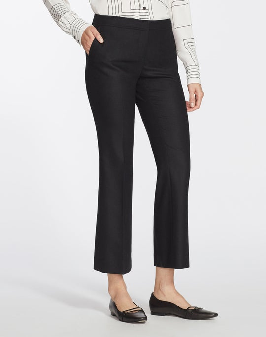 Finite Italian Flannel Cropped Manhattan Flare Pant