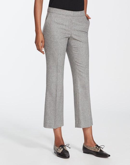 Finite Italian Flannel Cropped Manhattan Flare Pant