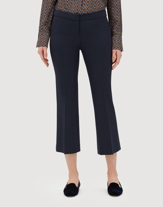 Plus-Size Luxe Italian Double Face Cropped Manhattan Flare Pant
