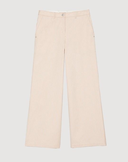 Majestic Micro Stripe Cropped Fulton Wide-Leg Pant