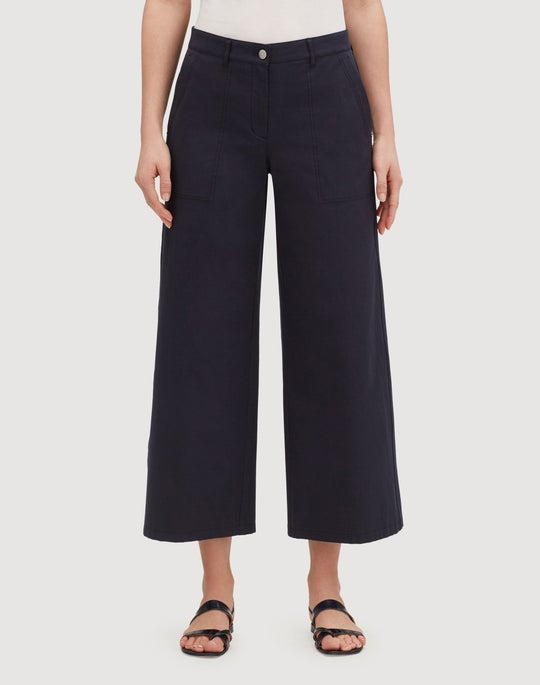 Petite Italian Bi-Stretch Pima Cotton Cropped Fulton Wide-Leg Pant