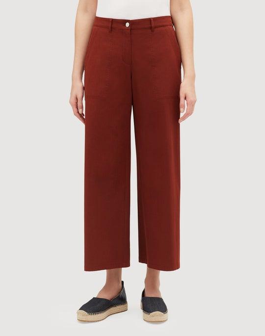 Italian Bi-Stretch Pima Cotton Cropped Fulton Wide-Leg Pant