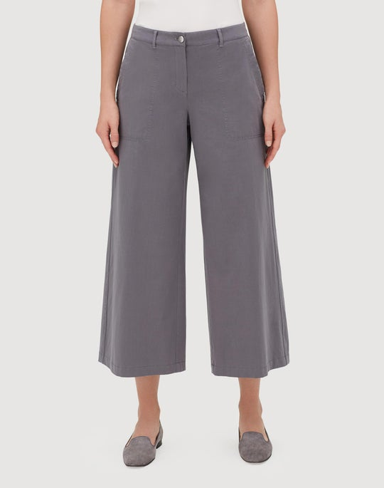 Italian Bi-Stretch Pima Cotton Cropped Fulton Wide-Leg Pant