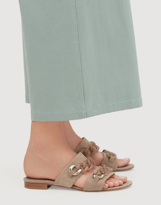 Petite Italian Bi-Stretch Pima Cotton Cropped Fulton Wide-Leg Pant