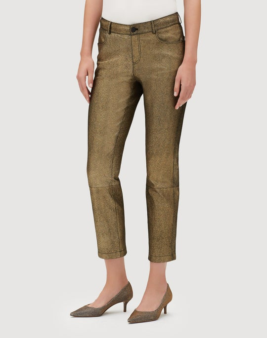 Plus-Size Stretch Shimmer Suede Cropped Mercer Pant