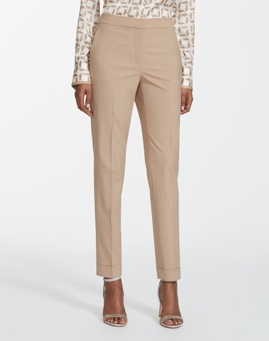 Petite Italian Stretch Wool Cuffed Clinton Pant