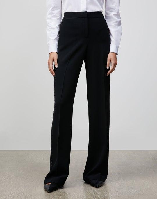 Finesse Crepe Embellished Dalton Wide-Leg Pant